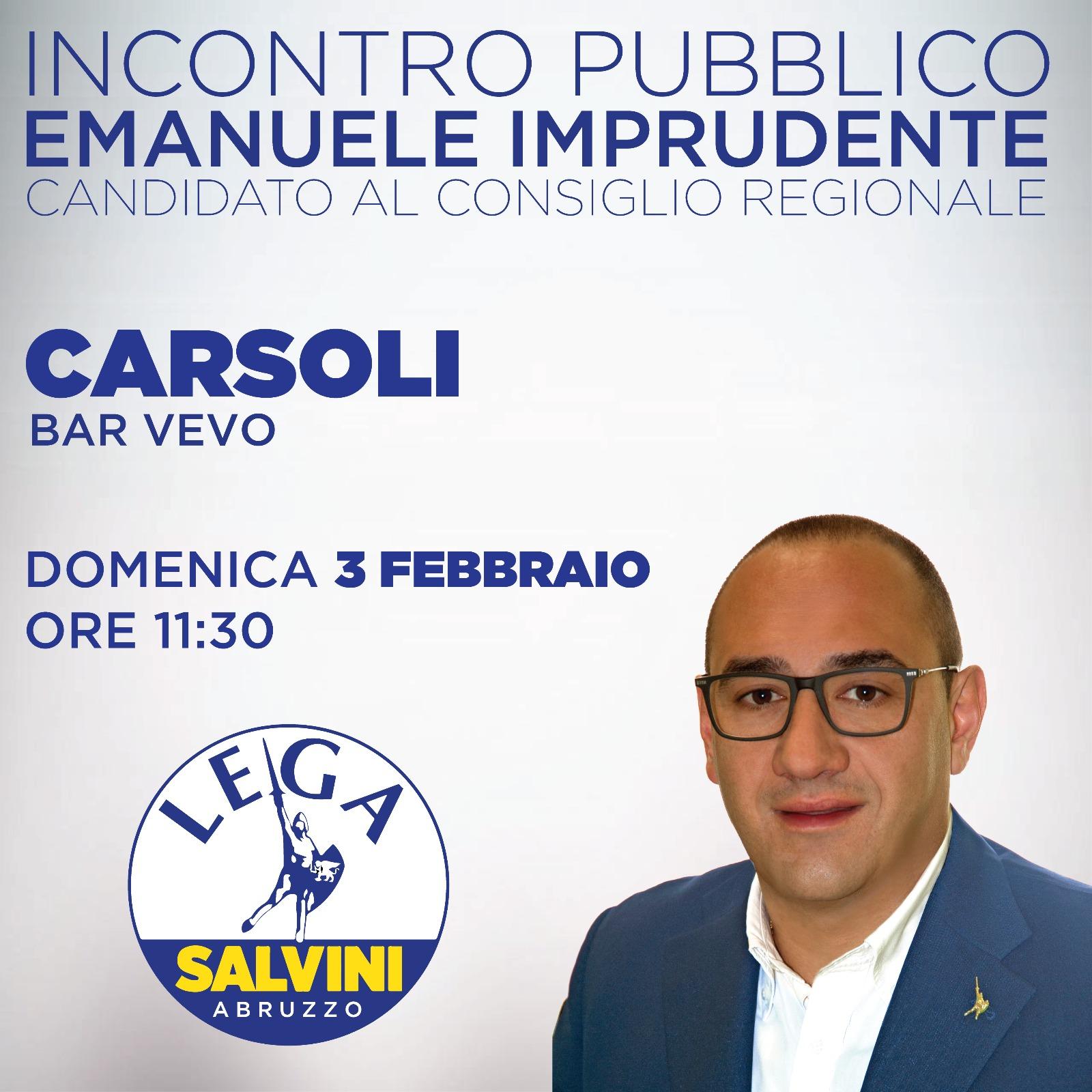 """Emanuele Imprudente (Lega) incontro pubblico a Carsoli: """"azione sinergica per rilanciare l'industria nella Piana del Cavaliere"""""""