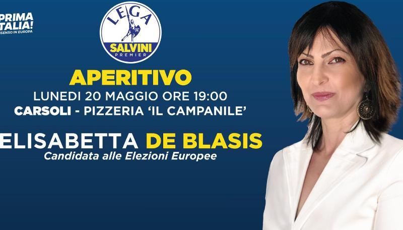 Elezioni Europee 2019, Elisabetta De Blasis (Lega) a Carsoli per aperitivo al Bar Campanile